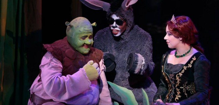"James Spiva, Felander Stevenson and Ashley Willsey in ""Shrek: The Musical"" at Cocoa Village Playhouse. Photo by Jonathan Goforth."