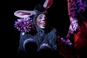 Felander Stevenson as 'Donkey' in 'Shrek: The Musical' at Cocoa Village Playhouse. Photo by Jonathan Goforth.