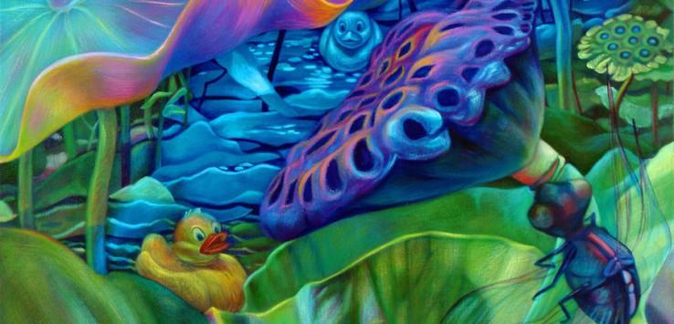 "Nancy Dillen, ""Blue Garden,"" oil on canvas, 36"" x 36"", 2008."