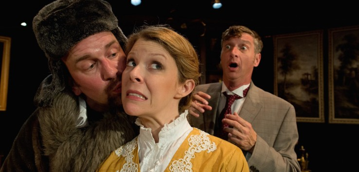 (L to R) Simon Needham, Heather Leonardi and Eric G. Pinder in Mad Cow Theatre's 'The Explorers Club.' Photo by Tom Hurst.