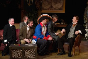 (L to R) Glenn J. Gover, Dennis Enos, Kevin Zepf, Simon Needham, Eric G. Pinder and David Almeida in Mad Cow Theatre's 'The Explorers Club.' Photo by Tom Hurst.