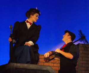 Melissa Whitworth and Joshua Kolb in  Titusville Playhouse's 'Mary Poppins: The Musical.' Photo by Doug Lebo.
