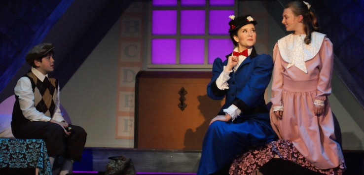 Jeffrey Gauvin, Melissa Whitworth and Emma Budsberg in Titusville Playhouse's 'Mary Poppins: The Musical.' Photo by Doug Lebo.