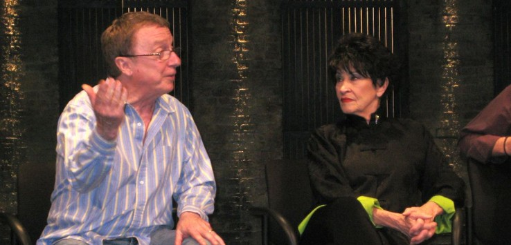 "George Hearn and Chita Rivera in a ""talk back"" after performance of ""The Visit"" at the Signature Theatre in Arlington, VA. 2008. Photo by Pam Harbaugh."