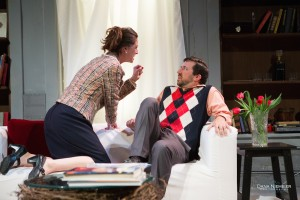 "L - R: Lauren Maleski and Aaron Karnes in the Henegar's production of ""God of Carnage."" Photo by Dana Niemeier"