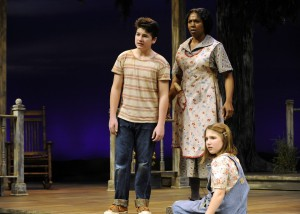 Walker Russell, Sheryl Carbonell and Kennedy Joy Foristall in Orlando Shakespeare Theatre's 'To Kill a Mockingbird.' Photo by Tony Firiollo.
