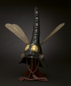 Helmet in dragonfly shape, 17th century, Japan. Iron, lacquer, wood, leather, gilt, pigments, silk, paper-mache. The James Ford Bell Foundation Endowment for Art Acquisition and gift of funds from Siri and Bob Marshall, 2012.31.1 a-c.