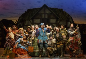Michael James Scott (Center) and cast of 'Something Rotten.' Photo by Joan Marcus.