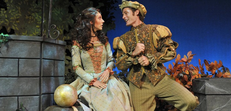 Photo of Orlando Shakespeare Theatre's production of 'The Frog and the Princess' features Adam Reilly and Kristin Shirilla. Photo by Tony Firriolo.