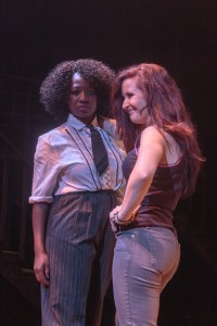 "Kristin Warren and Emily Godfrey as Joanne and Maureen in ""Rent"" at Cocoa Village Playhouse."