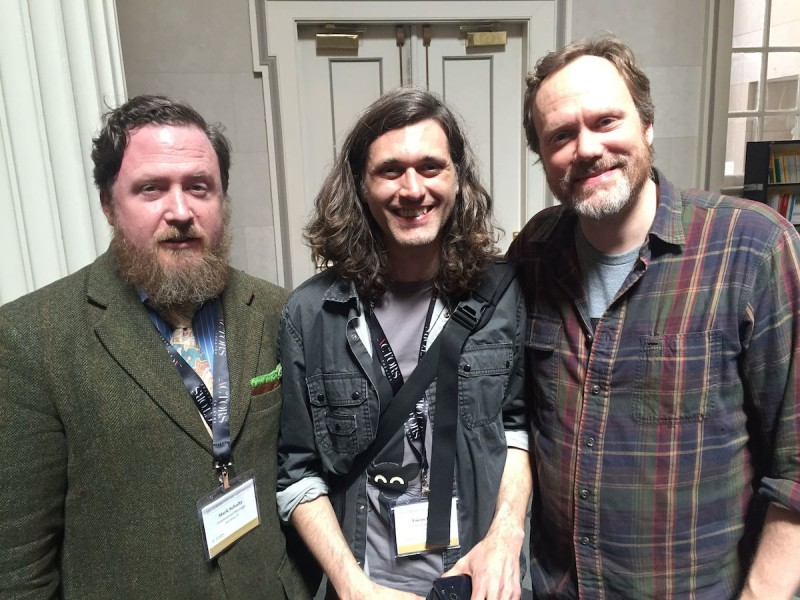 From left: Playwright Mark Schultz, playwright Lucas Hnath and actor Andrew Garman at the 2015 Humana Fest. Photo by Pam Harbaugh