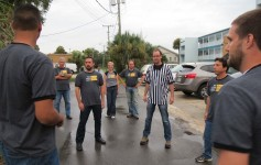 Pre-show warm up Not Quite Right Comedy Improv Troupe. Photo by Pam Harbaugh