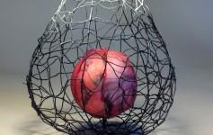 "detail: Hye Shin 'EMBRACE I' ( wire, digital printed silk, mixed media , 13""h x 11""w x 11""w 2014) photo courtesy of the artist"