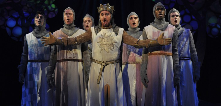 Austin Ryan Hunt, Keith E. Wilson, Daniel Longacre, Davis Gaines, Salvatore Vieira, Rashad Guy, and Jacob Valleroy in Orlando Shakepeare Theatre's 'Spamalot' photo by Tony Firriolo.