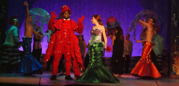 "Sterling Lovett and Allison Lachnicht as Sebastian and Ariel in Titusville Playhouse's production of Disney's ""The Little Mermaid."" Photo by Doug Lebo.Sterling Lovett and Allison Lachnicht as Sebastian and Ariel in Titusville Playhouse's production of Disney's ""The Little Mermaid."" Photo by Doug Lebo."