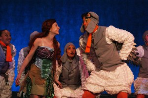 "Allison Lachnicht and Alvin Jenkins as Ariel and Scuttle in Titusville Playhouse's production of Disney's ""The LIttle Mermaid."" Photo by Doug Lebo."