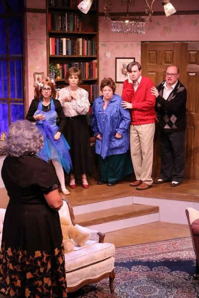 Facing camera, from left, Nathaly Morales, Nellie Brannan, Donna Furfaro, Dan Wilkerson and Dana Blanchard, in Melbourne Civic Theatre's 'The Curious Savage.' Photo by Max Thornton.