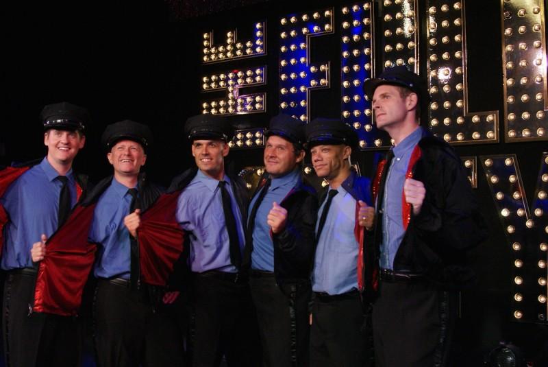 From left Kyle McDonald, Courtney Charvet, Shea Rafferty, Joe Tokarz, James Berkley and AJ Makielski in 'The Full Monty' at Titusville Playhouse