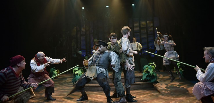Topher Embrey (Ted), Stephen James Anthony (Peter/Boy); and James Putnam (Prentiss) star in Orlando Shakespeare Theater's production of the Tony Award Winning musical comedy, Peter and the Starcatcher. Photo by Tony Firriolo.