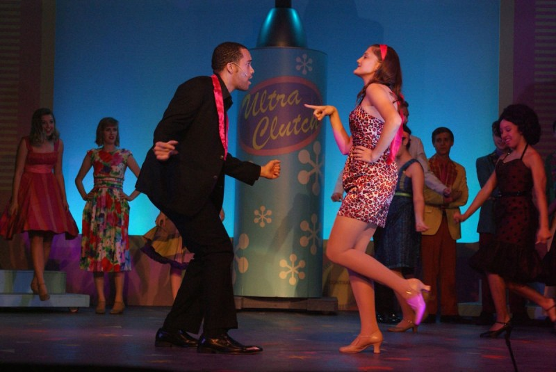 "From left: Alvin Jenkins and Sarah Biggs in Titusville Playhouse production of ""Hairspray"""