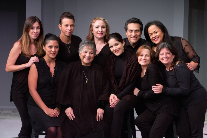 "Mad Cow's reading of ""Blood Wedding"" cast  from left , front row:- Lisa  Morales, Anahilda Garcia, Brenda Lamberty, Aurora Davidowitz, Susi  Rivera; from left, back row -  Gabrielle Ortiz, Aleksander Vargas, Tiki Hagan Noriega ,  Demi Castro, Alina Alcantara. Photo by Tom Hurst"