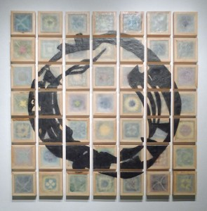 "Carrie Sieh, A New Order of Invalids, 2014. 72"" x 72"". Encaustic, polymer medium, crocheted cotton, plexiglas, and wood. Image courtesy of artist."