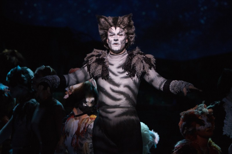 "Benjamin Cox as Munkustrap in Cooca Village Playhouse production of ""Cats"" photo by Goforth Photography"