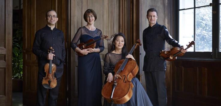 BRENTANO QUARTET - Misha Amory/ viola, Serena Canin/violin (glasses), Nina Lee/cello, Mark Steinberg/violin (glasses) www.http://brentanoquartet.com/