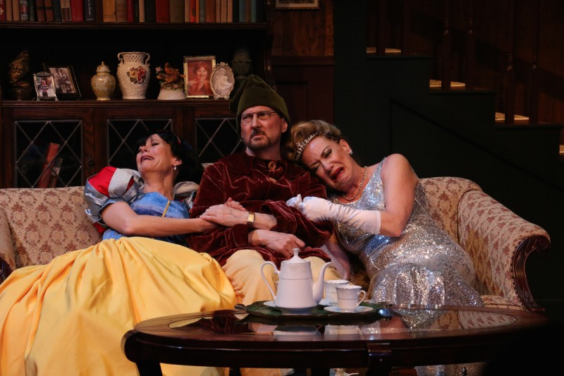 "From left: Stacey Logan, Warren Kelly and Susan Cella in Riverside Theatre's production of ""Vanya and Sonia and Masha and Spike"""