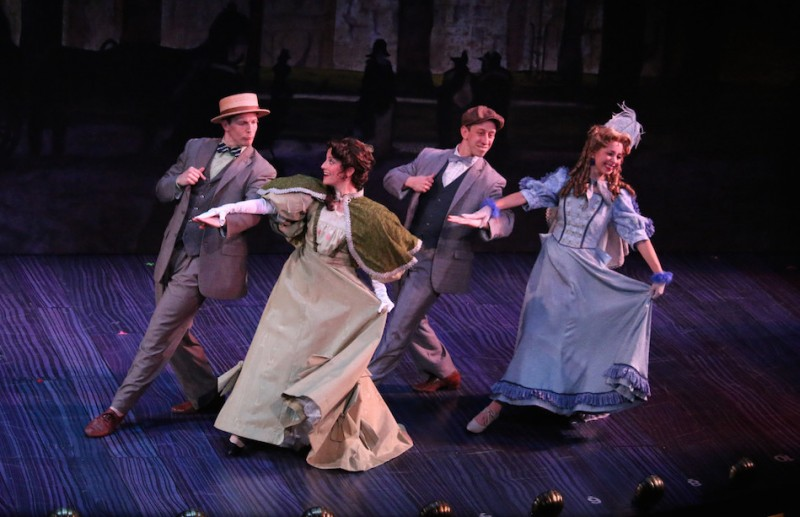 "From left: Jeff Sears, Jazmin Gorsline, Ryan Breslin and Alyssa Malgeri in Riverside Theatre's production of ""Hello, Dolly!"""