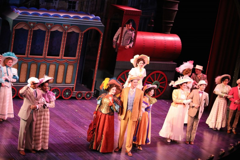 "Center, from left: Michele Ragusa, John Jeffords and Kristen Brooks Sandler in Riverside Theatre's production of ""Hello, Dolly!"""