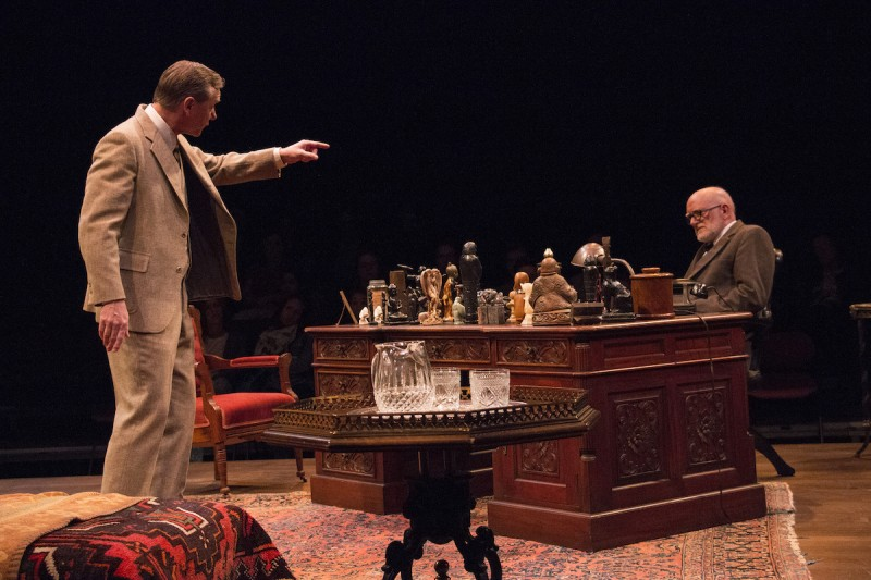 "From left: David Schmittou and Steve Brady in ""Freud's Last Session"" at Riverside Theatre."