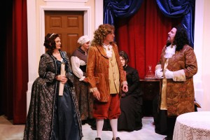 "From left, front: Christina LaFortune, Adrian Cahlll and Michael Fiore in ""Tartuffe"" at Melbourne Civic Theatre"