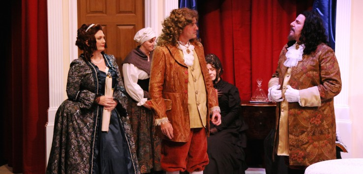 """From left, front: Christina LaFortune, Adrian Cahlll and Michael Fiore in """"Tartuffe"""" at Melbourne Civic Theatre"""
