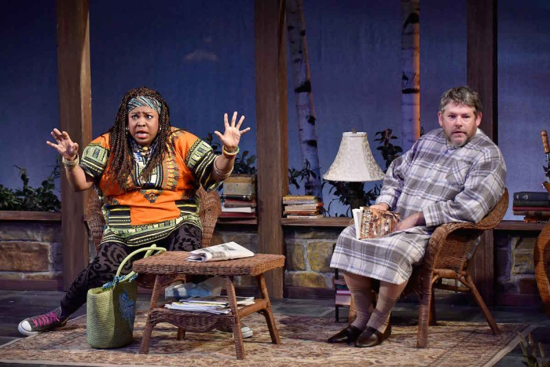 Fredena J. Williams (Cassandra) and Philip Nolen (Vanya) star in Orlando Shakespeare Theater's production of Vanya and Sonia and Masha and Spike. Photo by Tony Firriolo.