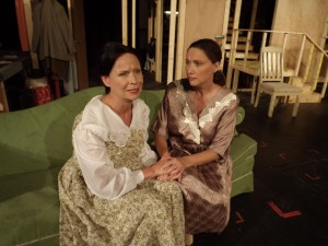 """Susan Teplica and Micaela Cunninngham in """"Diary of Anne Frank"""" at Surfside Playhouse. Photo by Leslie McGinty."""