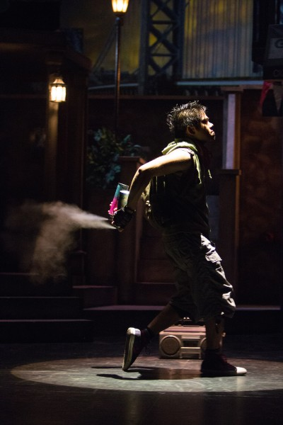 "Juan Drigo Ricafort as Graffiti Pete in ""In the Heights"" at Cocoa Village Playhouse. Photo by Jonathan Goforth."