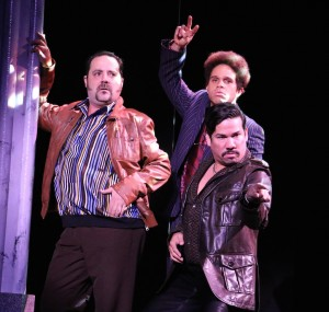 "From left: Fran Prisco, Justin Keyes (behind), and Tony Castellanos in ""Sister Act"" at Riverside Theatre."