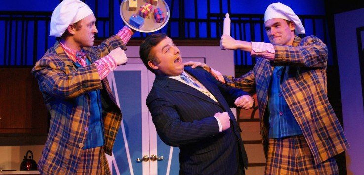 """Josh Kolb, Jonathon Adler and Ben Youmans in Titusville Playhouse production of """"The Drowsy Chaperone."""""""