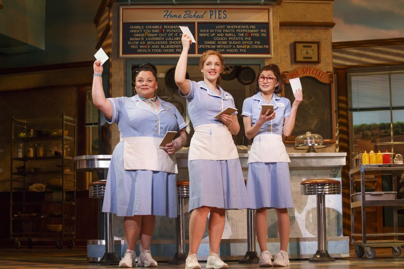 "L-r: Keala Settle (Becky), Jessie Mueller (Jenna), and Kimiko Glenn (Dawn) in ""Waitress,"" on Broadway at the Brooks Atkinson Theatre, Photo @ Joan Marcus 2016"