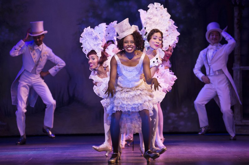 "Adrienne Warren and company perform ""I'm Just Wild About Harry"" in Shuffle Along, or The Making of the Musical Sensation of 1921 and All That Followed, featuring music and lyrics by Noble Sissle and Eubie Blake, book by F.E. Miller and Aubrey Lyles, with a new book and direction by George C. Wolfe and choreography by Savion Glover, at The Music Box Theatre (239 West 45th Street). © Julieta Cervantes"