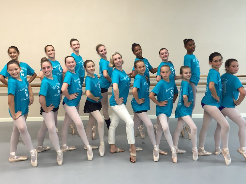 Elena Shokhina with dancers from the Brevard Ballet Academy.