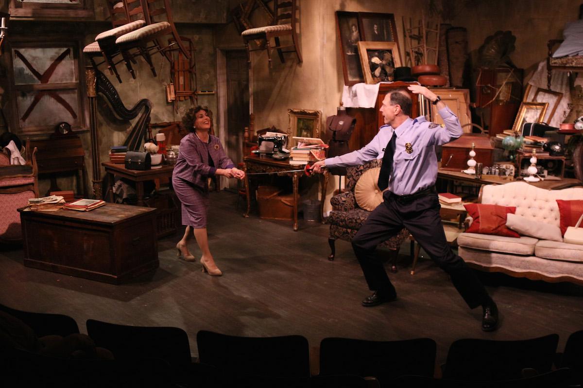 "Rita Moreno and Steven Wolf in ""The Price"" at Melbourne Civic Theatre. Photo by Max Thornton."