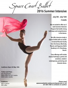 Emily Slawski will teach at the Space Coast Ballet summer intensive 2016.