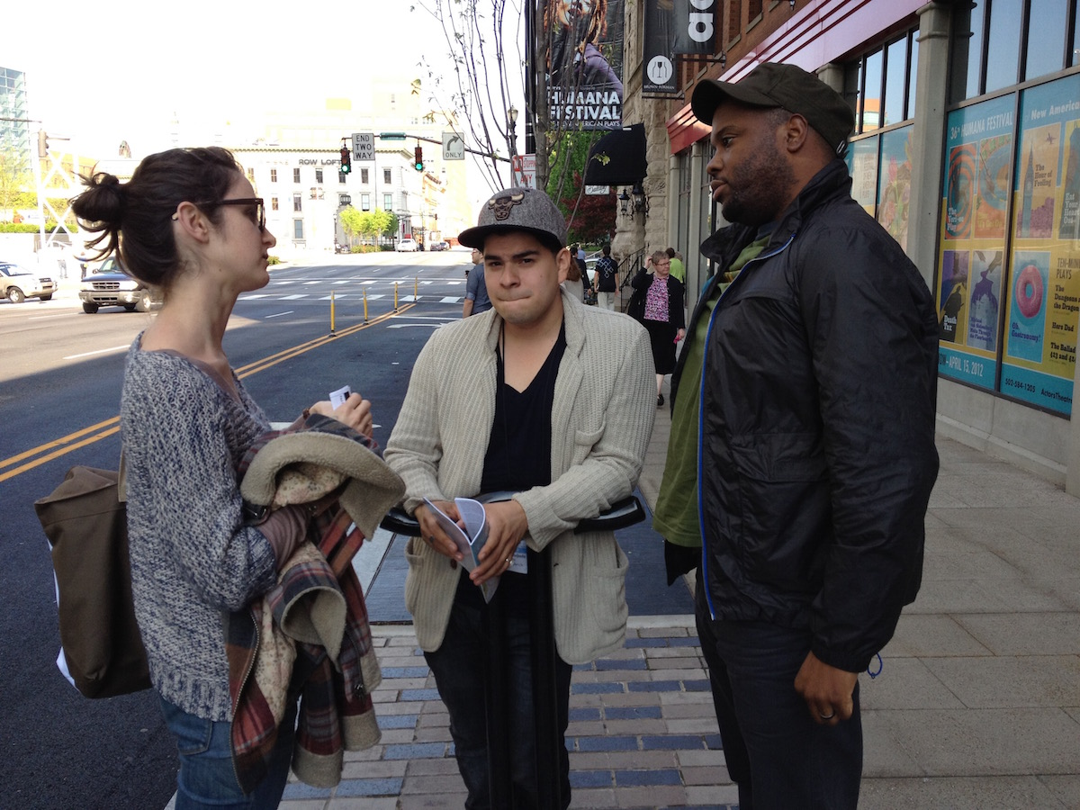 Performers talk outside Humana Festival. Photo by Pam Harbaugh
