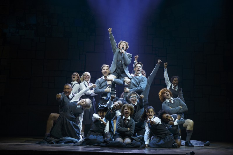"""Revolting Children"" Evan Gray (Bruce) and The Company of ""Matilda"" The  Musical National Tour. Photo by Joan Marcus"