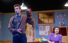 "Logan Ayala as Jason and Shane Frampton as Marge in ""Hand to God"" at the Henegar Center. Photo by Dana Niemeier."
