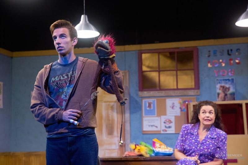 "Logan Ayala as Jason and Shane Frampton as Marge in ""Hand to God"" at the Henegar Center. Photo by Dana Niemeier."