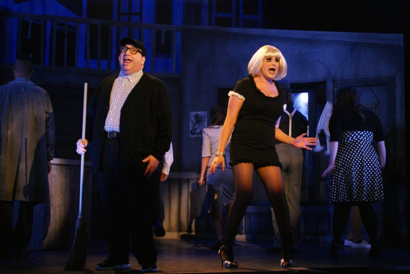 Steven Heron and Leyla Corbett in LITTLE SHOP OF HORRORS at Titusville Playhouse. Photo by Doug Lebo.
