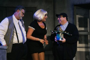 Steve Williams, Leyla Corbett and Steven Heron in Titusville Playhouse's production of LITTLE SHOP OF HORRORS. Photo by Doug Lebo.